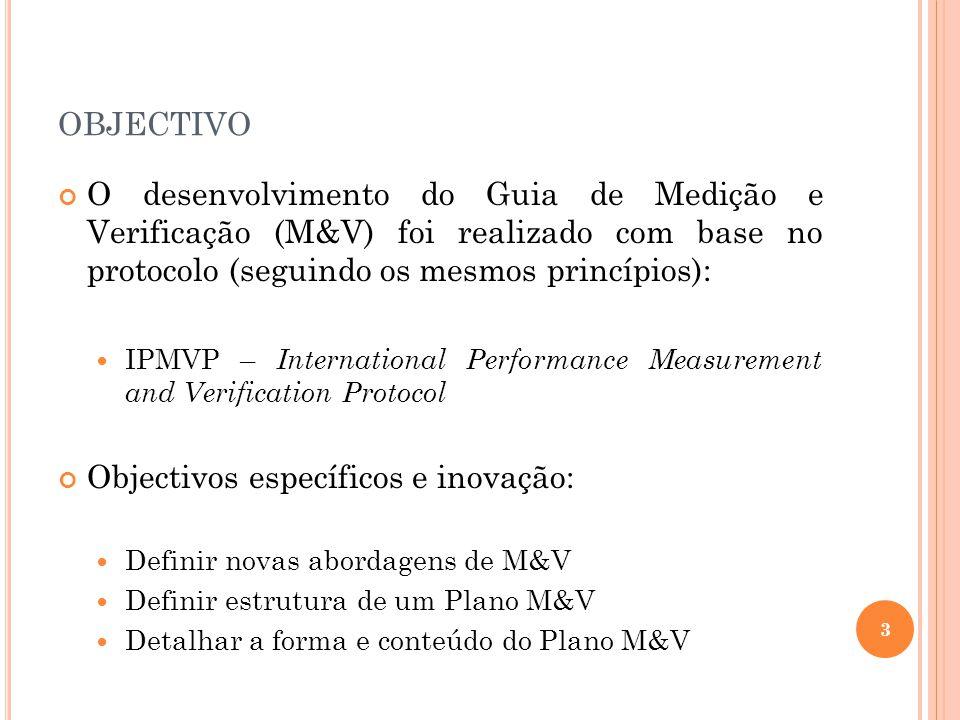 OBJECTIVO O desenvolvimento do Guia de Medição e Verificação (M&V) foi realizado com base no protocolo (seguindo os mesmos princípios): IPMVP – Intern