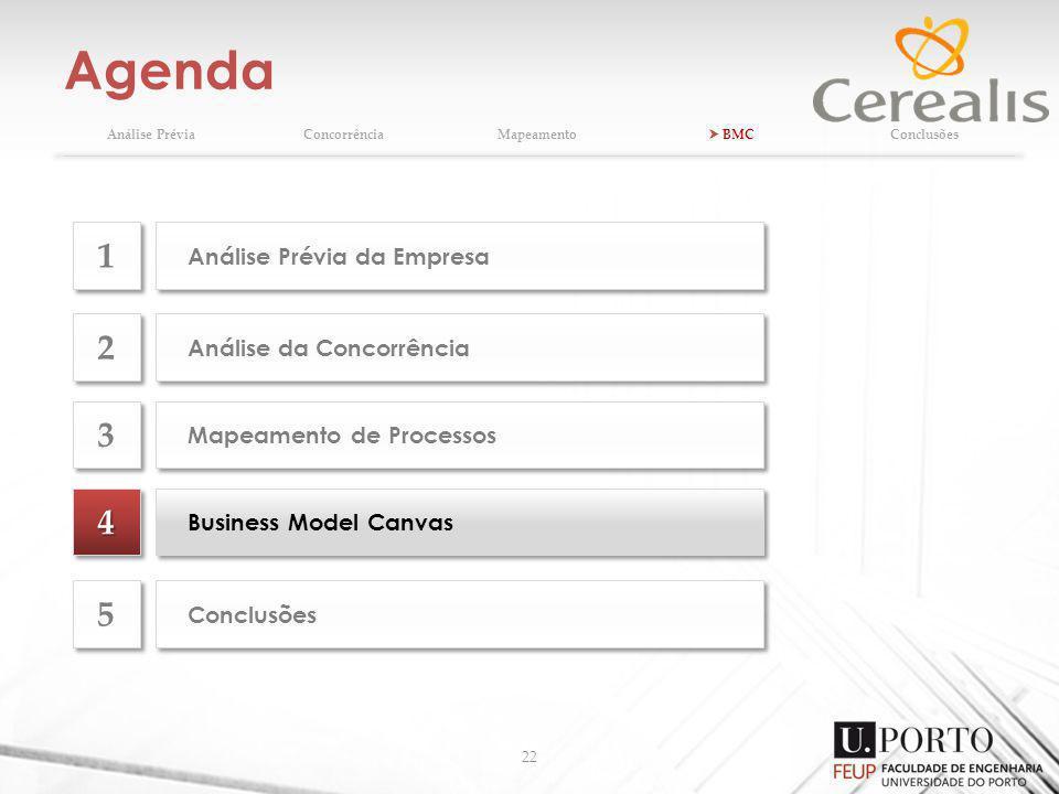 Agenda 22 Análise PréviaConcorrênciaMapeamento BMCConclusões 44 Business Model Canvas Análise da Concorrência 2 2 Mapeamento de Processos 3 3 Conclusões 5 5 Análise Prévia da Empresa 1 1