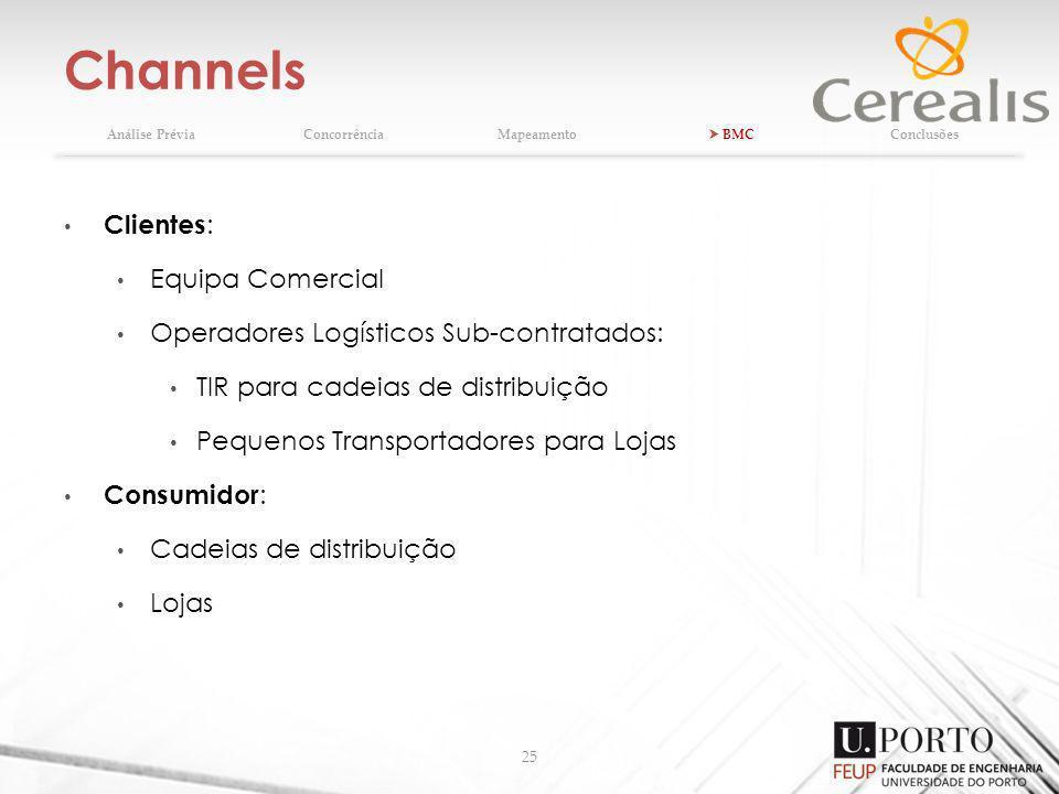 Channels 25 Clientes : Equipa Comercial Operadores Logísticos Sub-contratados: TIR para cadeias de distribuição Pequenos Transportadores para Lojas Consumidor : Cadeias de distribuição Lojas Análise PréviaConcorrênciaMapeamento BMCConclusões