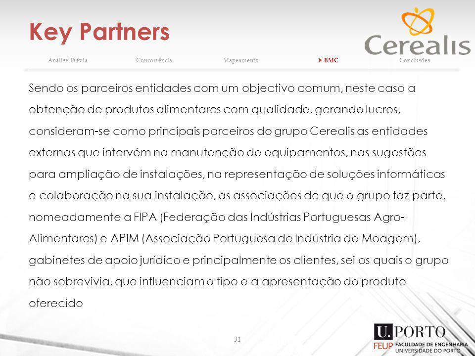 Key Partners 31 Análise PréviaConcorrênciaMapeamento BMCConclusões Sendo os parceiros entidades com um objectivo comum, neste caso a obtenção de produtos alimentares com qualidade, gerando lucros, consideram-se como principais parceiros do grupo Cerealis as entidades externas que intervém na manutenção de equipamentos, nas sugestões para ampliação de instalações, na representação de soluções informáticas e colaboração na sua instalação, as associações de que o grupo faz parte, nomeadamente a FIPA (Federação das Indústrias Portuguesas Agro- Alimentares) e APIM (Associação Portuguesa de Indústria de Moagem), gabinetes de apoio jurídico e principalmente os clientes, sei os quais o grupo não sobrevivia, que influenciam o tipo e a apresentação do produto oferecido