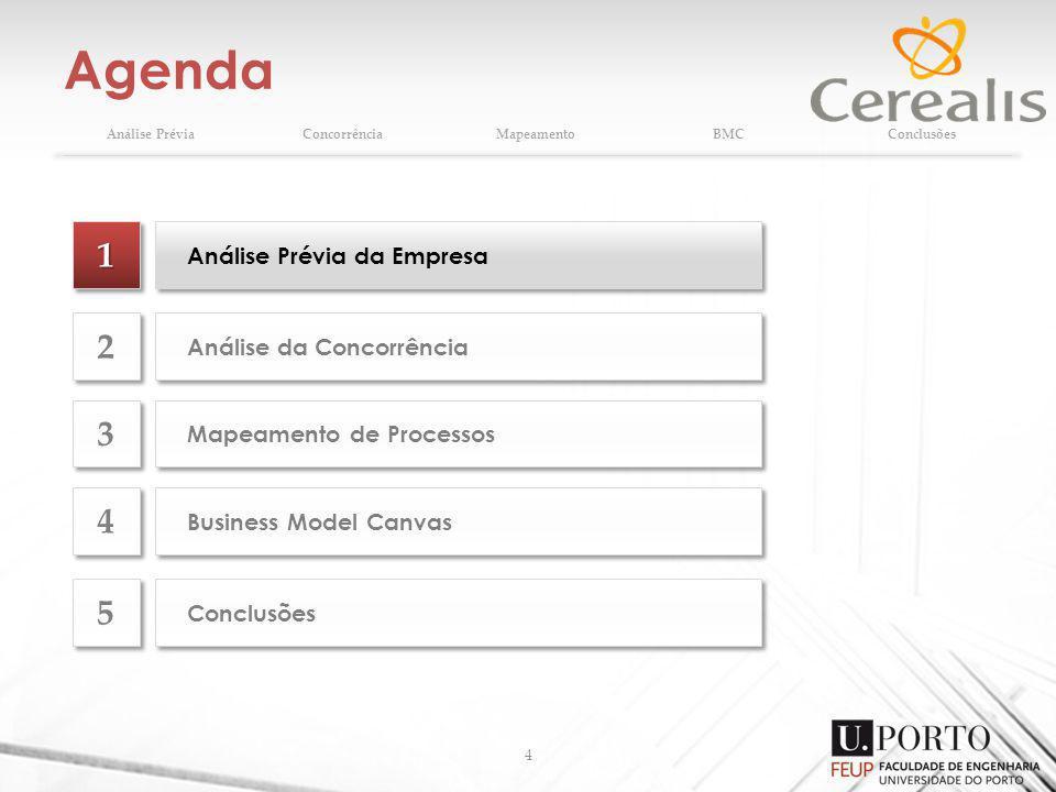 Agenda 4 Análise PréviaConcorrênciaMapeamentoBMCConclusões 11 Análise Prévia da Empresa Análise da Concorrência 2 2 Mapeamento de Processos 3 3 Business Model Canvas 4 4 Conclusões 5 5