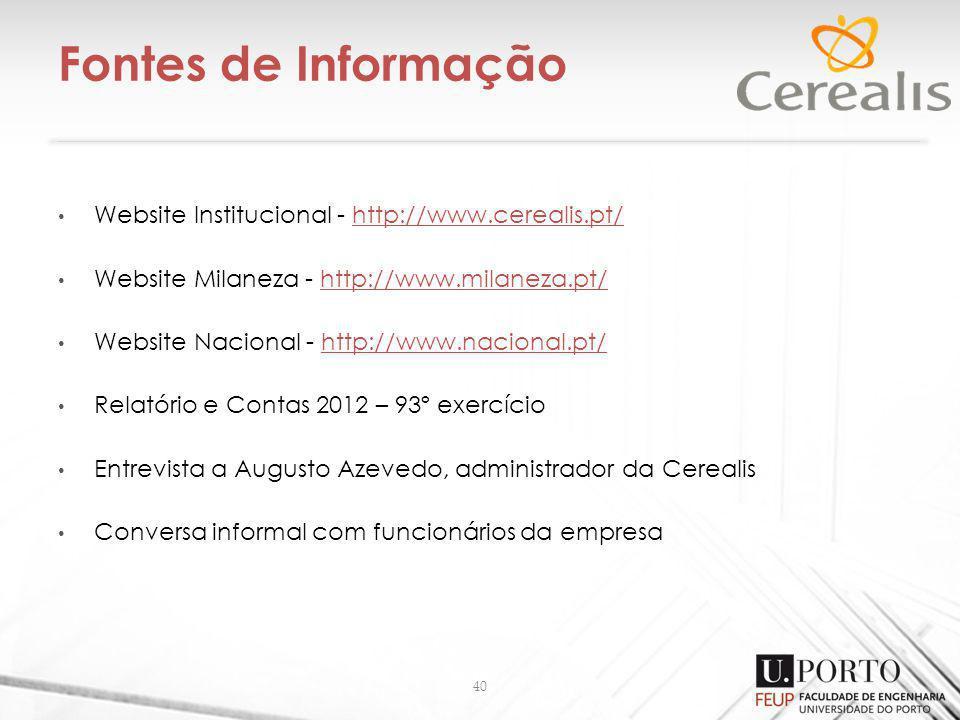 Fontes de Informação 40 Website Institucional - http://www.cerealis.pt/http://www.cerealis.pt/ Website Milaneza - http://www.milaneza.pt/http://www.milaneza.pt/ Website Nacional - http://www.nacional.pt/http://www.nacional.pt/ Relatório e Contas 2012 – 93º exercício Entrevista a Augusto Azevedo, administrador da Cerealis Conversa informal com funcionários da empresa