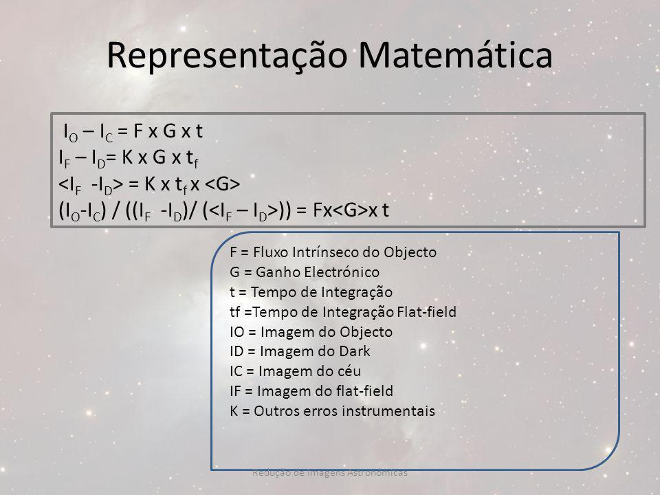 Representação Matemática I O – I C = F x G x t I F – I D = K x G x t f = K x t f x (I O -I C ) / ((I F -I D )/ ( )) = Fx x t F = Fluxo Intrínseco do O