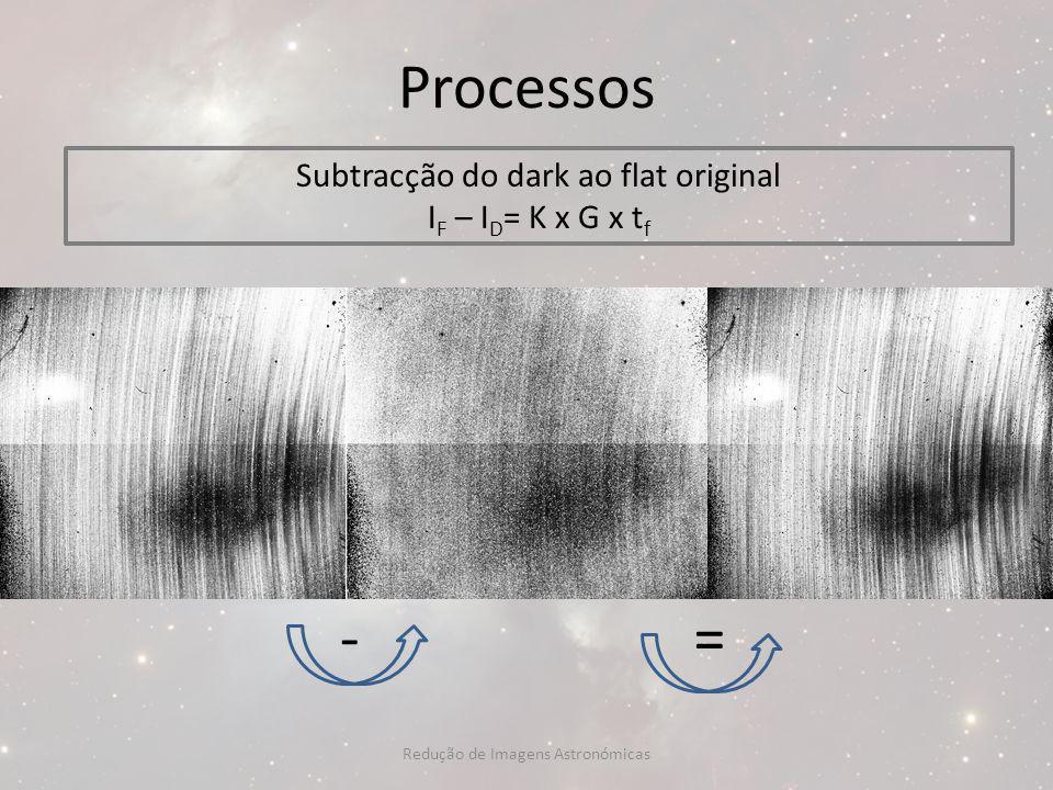 Processos Subtracção do dark ao flat original I F – I D = K x G x t f -= Redução de Imagens Astronómicas