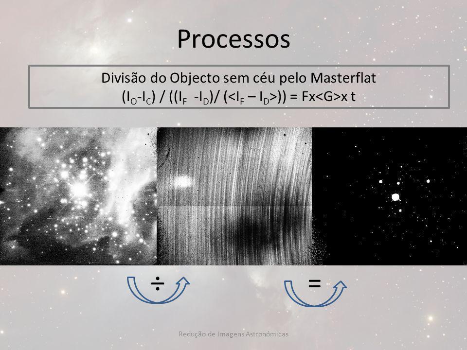 Processos Divisão do Objecto sem céu pelo Masterflat (I O -I C ) / ((I F -I D )/ ( )) = Fx x t ÷= Redução de Imagens Astronómicas