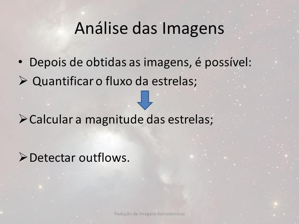 Análise das Imagens Depois de obtidas as imagens, é possível: Quantificar o fluxo da estrelas; Calcular a magnitude das estrelas; Detectar outflows. R