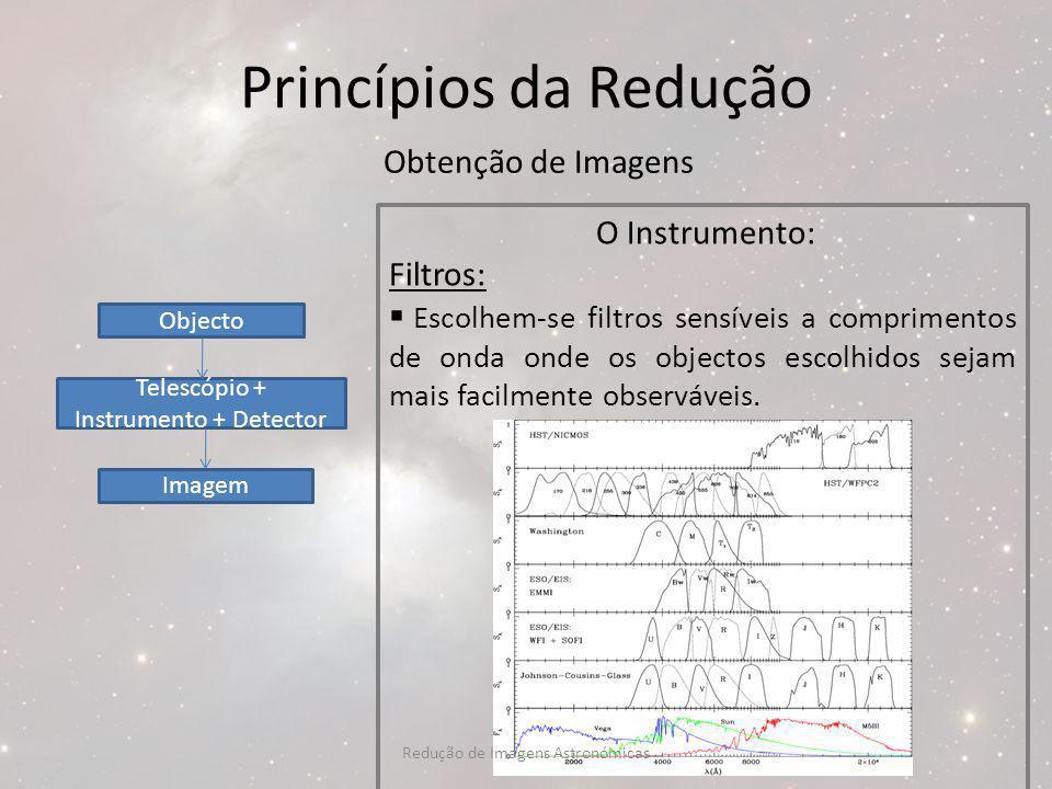 Princípios da Redução Obtenção de Imagens O Instrumento: Filtros: Escolhem-se filtros sensíveis a comprimentos de onda onde os objectos escolhidos sej