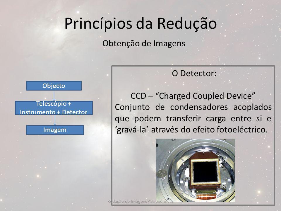 Princípios da Redução Obtenção de Imagens O Detector: CCD – Charged Coupled Device Conjunto de condensadores acoplados que podem transferir carga entr