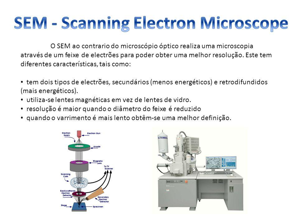 O SEM ao contrario do microscópio óptico realiza uma microscopia através de um feixe de electrões para poder obter uma melhor resolução. Este tem dife