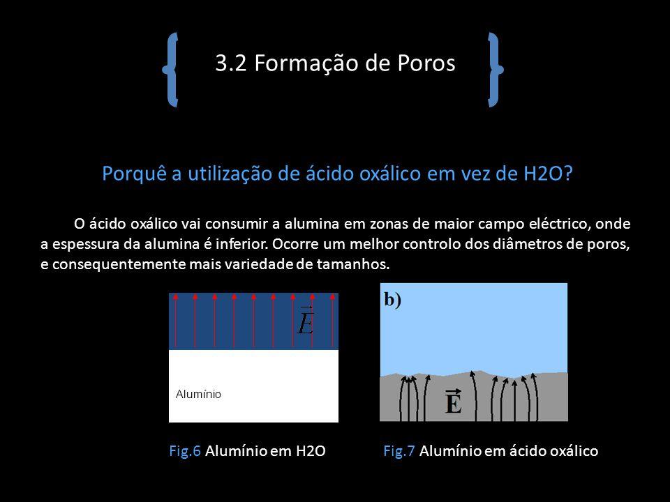 3.2 Formação de Poros Porquê a utilização de ácido oxálico em vez de H2O? O ácido oxálico vai consumir a alumina em zonas de maior campo eléctrico, on