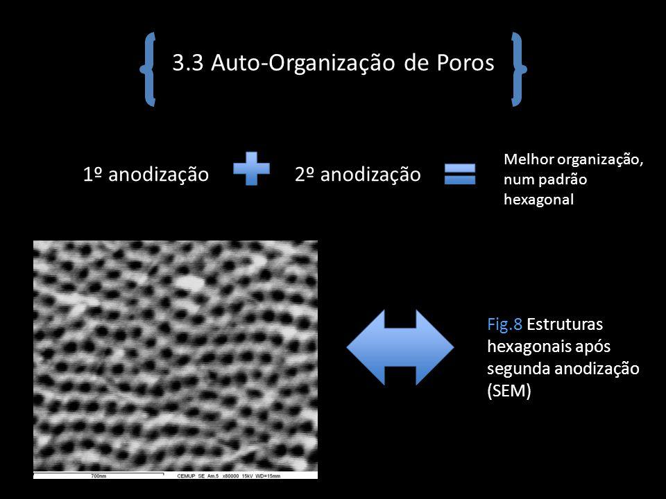 3.3 Auto-Organização de Poros 1º anodização2º anodização Melhor organização, num padrão hexagonal Fig.8 Estruturas hexagonais após segunda anodização