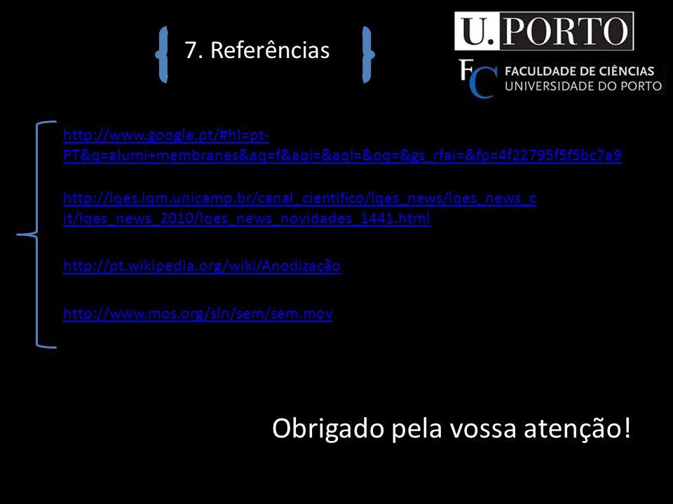 7. Referências http://www.google.pt/#hl=pt- PT&q=alumi+membranes&aq=f&aqi=&aql=&oq=&gs_rfai=&fp=4f22795f5f5bc7a9 http://lqes.iqm.unicamp.br/canal_cien