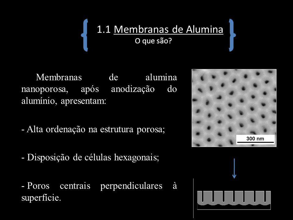 1.1 Membranas de Alumina O que são? Membranas de alumina nanoporosa, após anodização do alumínio, apresentam: - Alta ordenação na estrutura porosa; -