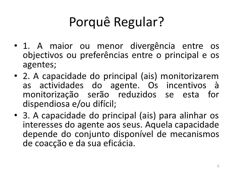 Porquê Regular? 1. A maior ou menor divergência entre os objectivos ou preferências entre o principal e os agentes; 2. A capacidade do principal (ais)