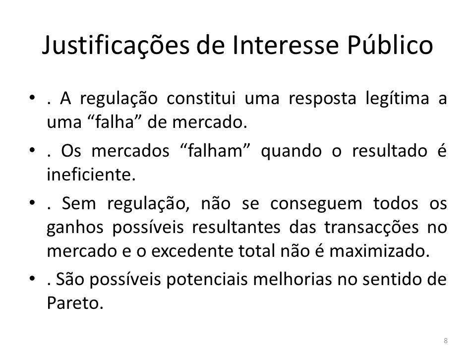 Justificações de Interesse Público. A regulação constitui uma resposta legítima a uma falha de mercado.. Os mercados falham quando o resultado é inefi