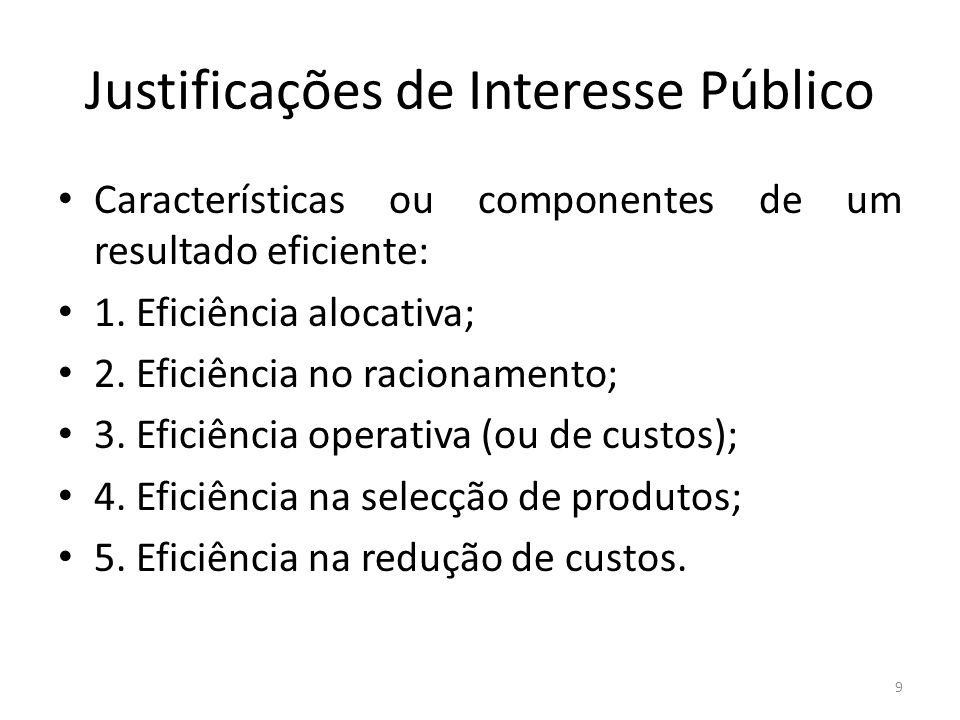 Justificações de Interesse Público Características ou componentes de um resultado eficiente: 1. Eficiência alocativa; 2. Eficiência no racionamento; 3