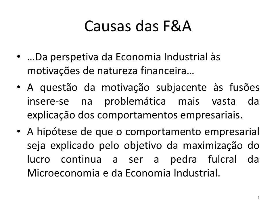 Causas das F&A …Da perspetiva da Economia Industrial às motivações de natureza financeira… A questão da motivação subjacente às fusões insere-se na problemática mais vasta da explicação dos comportamentos empresariais.