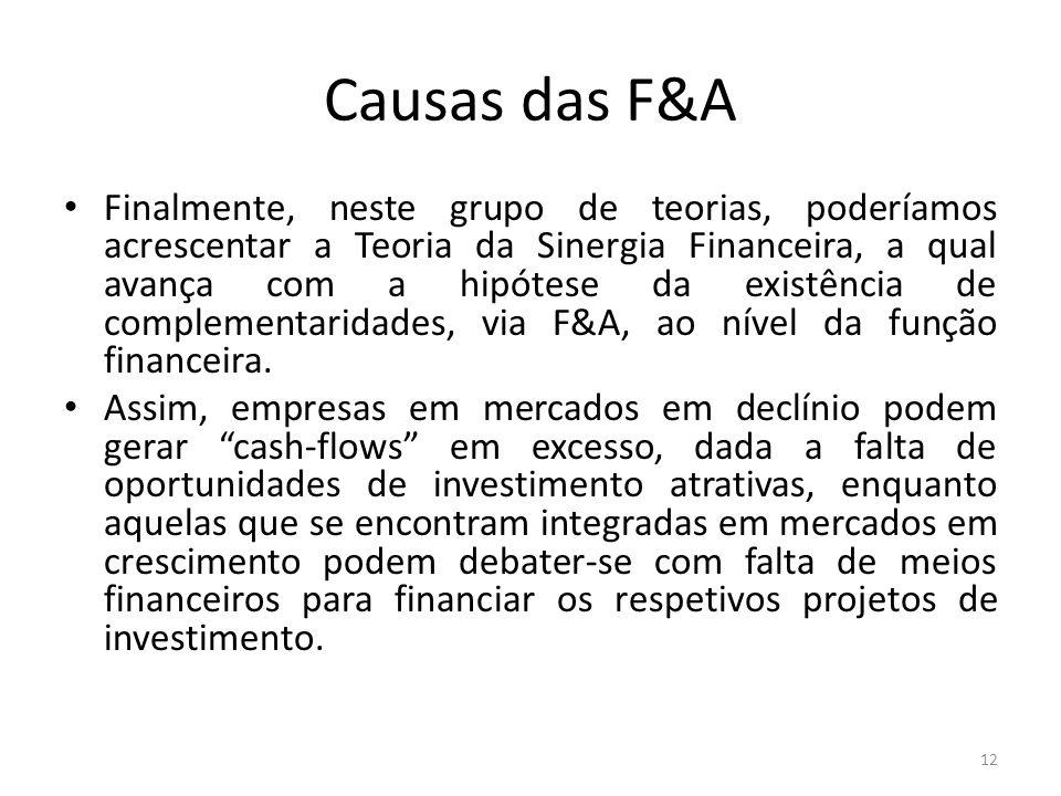 Causas das F&A Finalmente, neste grupo de teorias, poderíamos acrescentar a Teoria da Sinergia Financeira, a qual avança com a hipótese da existência de complementaridades, via F&A, ao nível da função financeira.