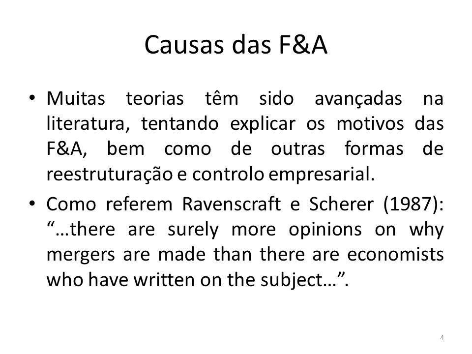Causas das F&A Muitas teorias têm sido avançadas na literatura, tentando explicar os motivos das F&A, bem como de outras formas de reestruturação e controlo empresarial.