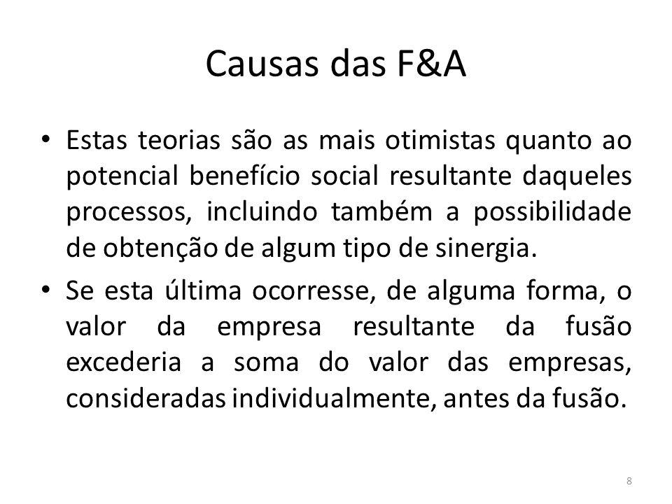 Causas das F&A Estas teorias são as mais otimistas quanto ao potencial benefício social resultante daqueles processos, incluindo também a possibilidade de obtenção de algum tipo de sinergia.