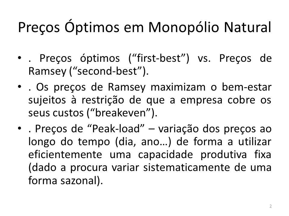 Preços Óptimos em Monopólio Natural. Preços óptimos (first-best) vs. Preços de Ramsey (second-best).. Os preços de Ramsey maximizam o bem-estar sujeit