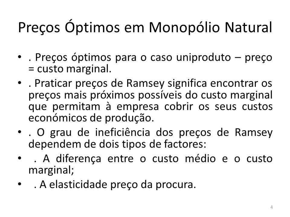 Preços Óptimos em Monopólio Natural. Preços óptimos para o caso uniproduto – preço = custo marginal.. Praticar preços de Ramsey significa encontrar os