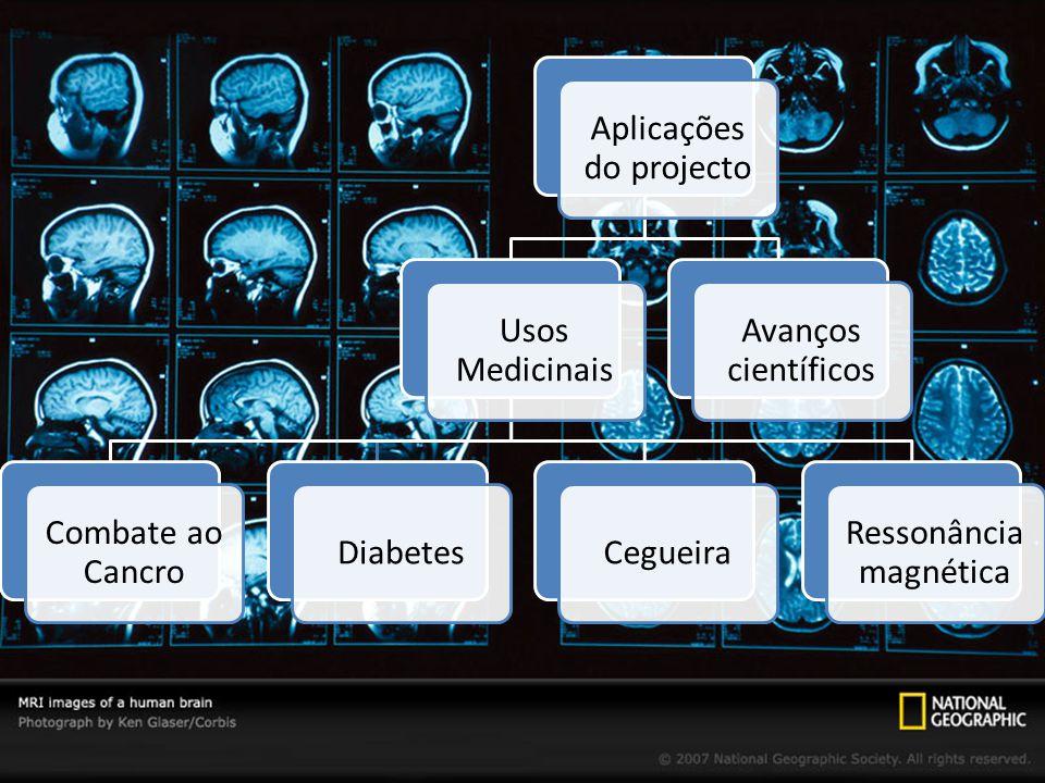 Aplicações do projecto Usos Medicinais Combate ao Cancro DiabetesCegueira Ressonância magnética Avanços científicos
