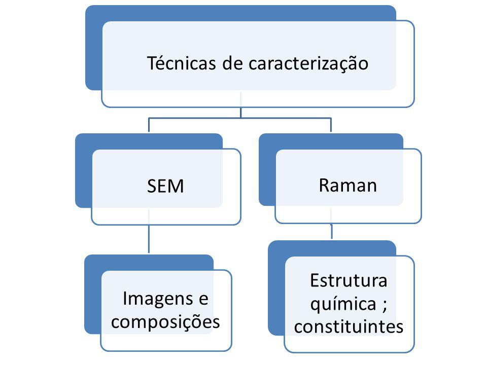 Técnicas de caracterização SEM Imagens e composições Raman Estrutura química ; constituintes