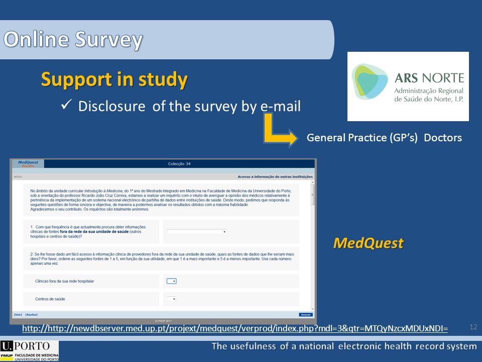 Support in study Disclosure of the survey by e-mail General Practice (GPs) Doctors 12 http://http://newdbserver.med.up.pt/projext/medquest/verprod/index.php mdl=3&qtr=MTQyNzcxMDUxNDI= MedQuest