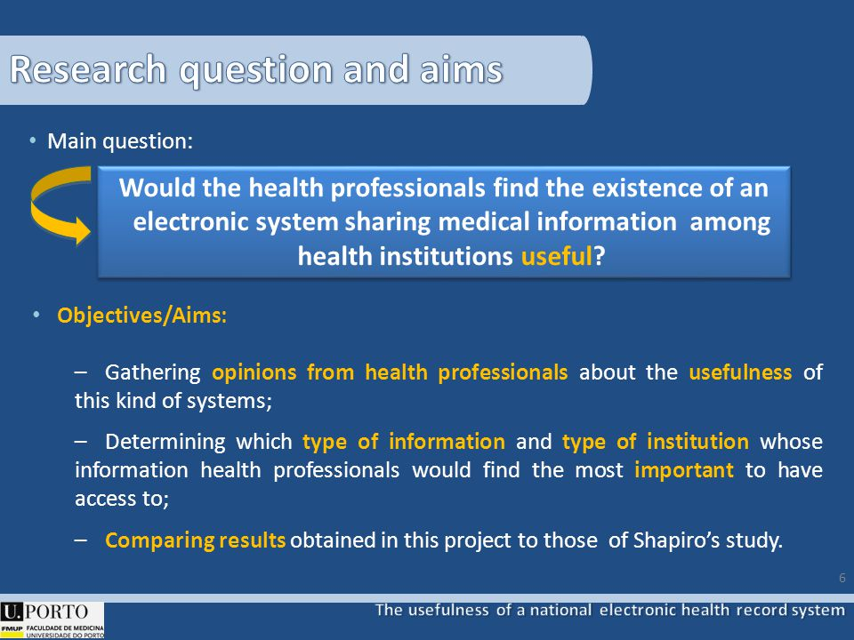Main question: Objectives/Aims: – Gathering opinions from health professionals about the usefulness of this kind of systems; – Determining which type of information and type of institution whose information health professionals would find the most important to have access to; – Comparing results obtained in this project to those of Shapiros study.