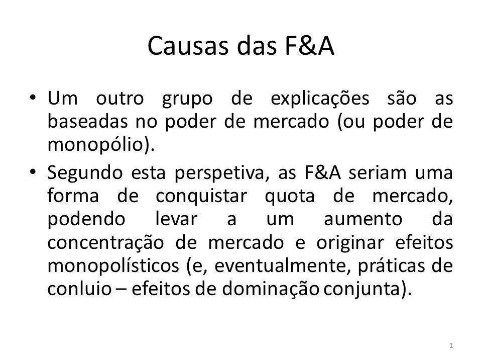 Causas das F&A Um outro grupo de explicações são as baseadas no poder de mercado (ou poder de monopólio).