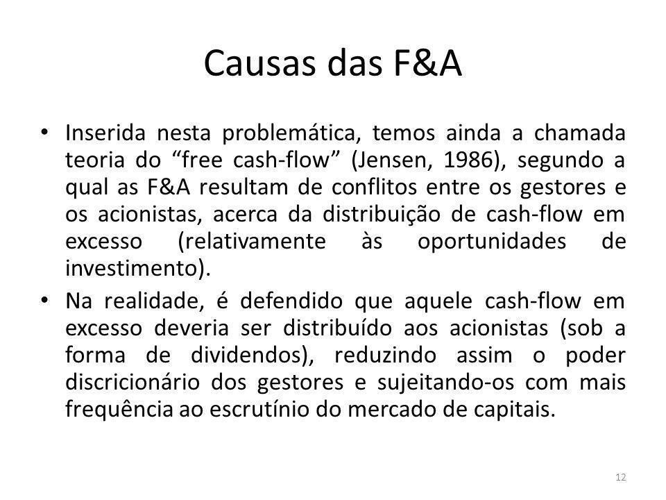 Causas das F&A Inserida nesta problemática, temos ainda a chamada teoria do free cash-flow (Jensen, 1986), segundo a qual as F&A resultam de conflitos entre os gestores e os acionistas, acerca da distribuição de cash-flow em excesso (relativamente às oportunidades de investimento).