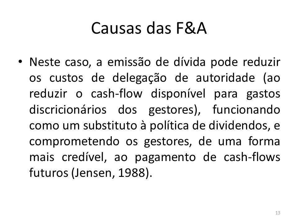 Causas das F&A Neste caso, a emissão de dívida pode reduzir os custos de delegação de autoridade (ao reduzir o cash-flow disponível para gastos discricionários dos gestores), funcionando como um substituto à política de dividendos, e comprometendo os gestores, de uma forma mais credível, ao pagamento de cash-flows futuros (Jensen, 1988).