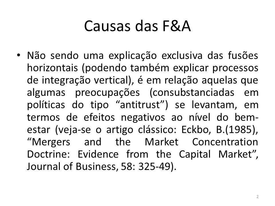 Causas das F&A Não sendo uma explicação exclusiva das fusões horizontais (podendo também explicar processos de integração vertical), é em relação aquelas que algumas preocupações (consubstanciadas em políticas do tipo antitrust) se levantam, em termos de efeitos negativos ao nível do bem- estar (veja-se o artigo clássico: Eckbo, B.(1985), Mergers and the Market Concentration Doctrine: Evidence from the Capital Market, Journal of Business, 58: 325-49).