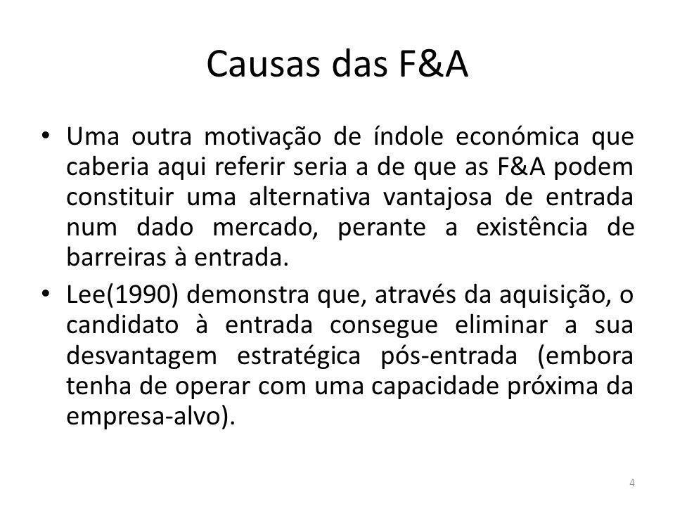 Causas das F&A Avançando para teorias que têm por base fatores de natureza mais financeira, poderemos referir as explicações baseadas na hipótese da informação ou sinalização.