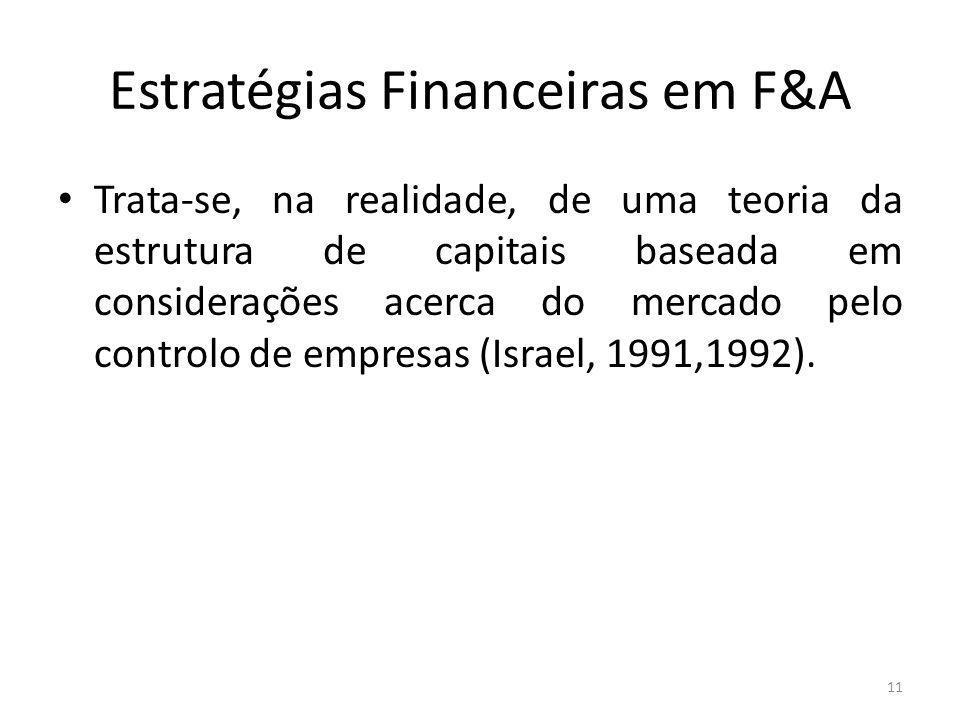 Estratégias Financeiras em F&A Trata-se, na realidade, de uma teoria da estrutura de capitais baseada em considerações acerca do mercado pelo controlo de empresas (Israel, 1991,1992).