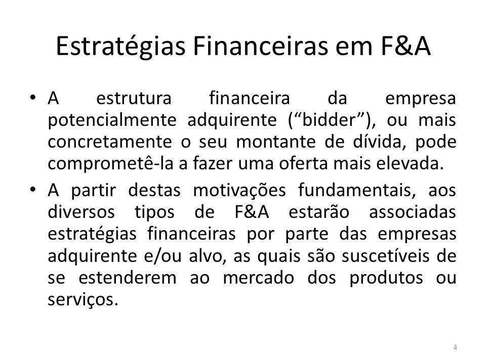 Estratégias Financeiras em F&A A estrutura financeira da empresa potencialmente adquirente (bidder), ou mais concretamente o seu montante de dívida, pode comprometê-la a fazer uma oferta mais elevada.