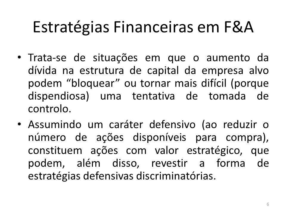 Estratégias Financeiras em F&A Trata-se de situações em que o aumento da dívida na estrutura de capital da empresa alvo podem bloquear ou tornar mais difícil (porque dispendiosa) uma tentativa de tomada de controlo.
