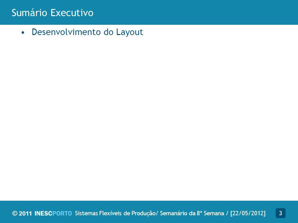 © 2011 Bibliografia Analisada 4Sistemas Flexíveis de Produção/ Semanário da 8ª Semana / [22/05/2012] Layout.