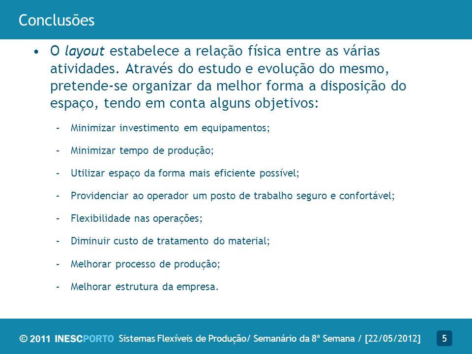 © 2011 Trabalho futuro Estudo de 3 diferentes configurações de layout 6Sistemas Flexíveis de Produção/ Semanário da 8ª Semana / [22/05/2012]