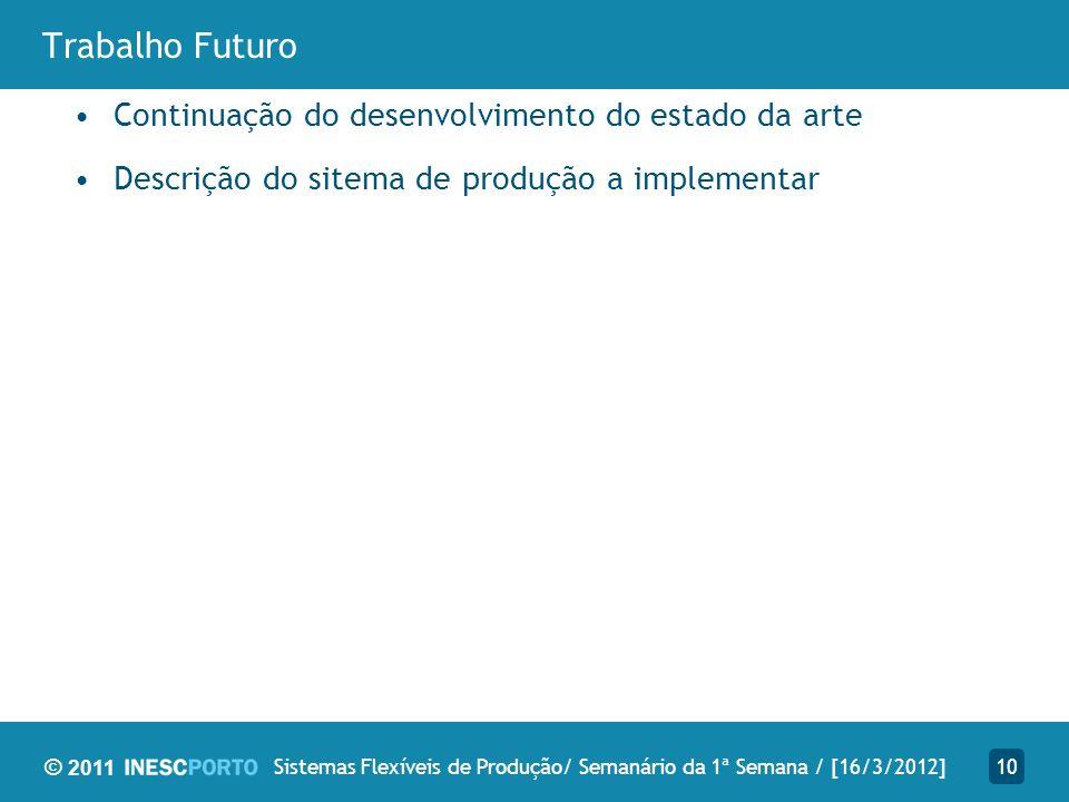 © 2011 Trabalho Futuro Continuação do desenvolvimento do estado da arte Descrição do sitema de produção a implementar 10Sistemas Flexíveis de Produção