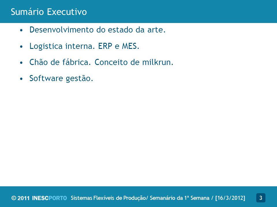 © 2011 Sumário Executivo Desenvolvimento do estado da arte. Logistica interna. ERP e MES. Chão de fábrica. Conceito de milkrun. Software gestão. 3Sist
