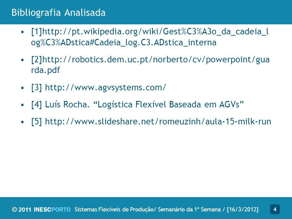 © 2011 Bibliografia Analisada [1]http://pt.wikipedia.org/wiki/Gest%C3%A3o_da_cadeia_l og%C3%ADstica#Cadeia_log.C3.ADstica_interna [2]http://robotics.d