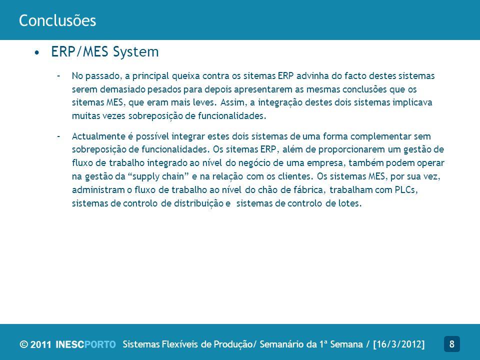 © 2011 Conclusões ERP/MES System –No passado, a principal queixa contra os sitemas ERP advinha do facto destes sistemas serem demasiado pesados para d