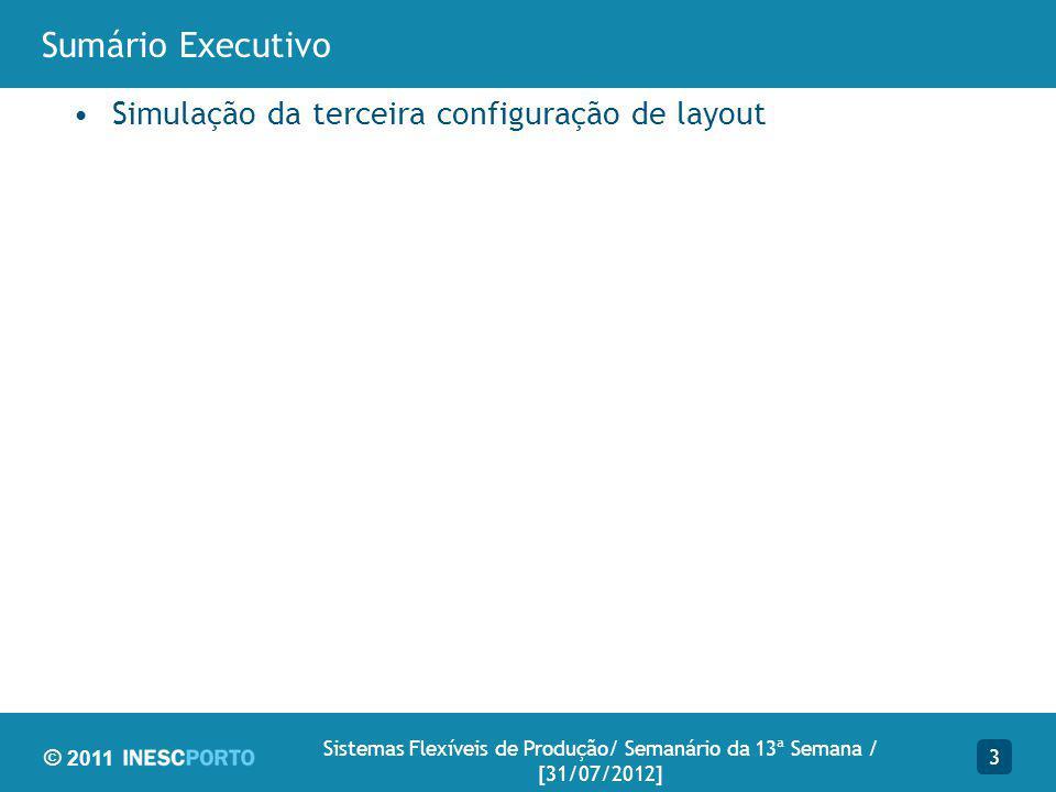© 2011 Sumário Executivo Simulação da terceira configuração de layout 3 Sistemas Flexíveis de Produção/ Semanário da 13ª Semana / [31/07/2012]