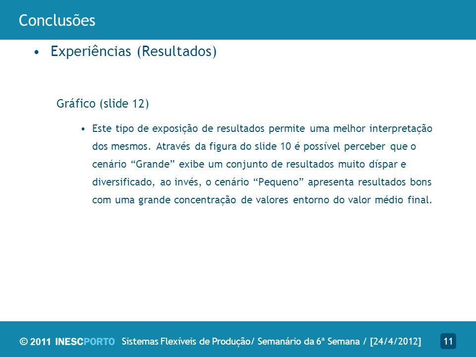 © 2011 Conclusões Experiências (Resultados) Gráfico (slide 12) Este tipo de exposição de resultados permite uma melhor interpretação dos mesmos. Atrav