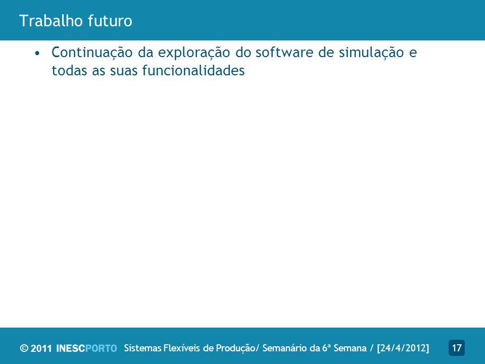 © 2011 Trabalho futuro Continuação da exploração do software de simulação e todas as suas funcionalidades 17Sistemas Flexíveis de Produção/ Semanário