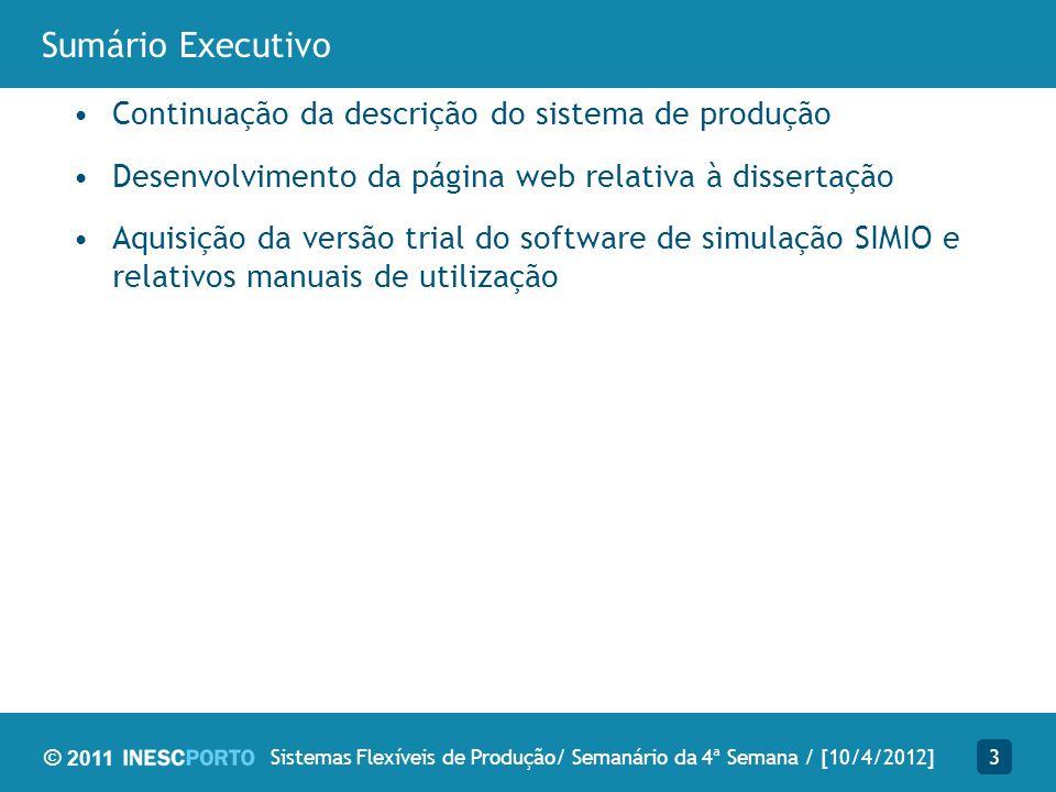 © 2011 Sumário Executivo Continuação da descrição do sistema de produção Desenvolvimento da página web relativa à dissertação Aquisição da versão tria