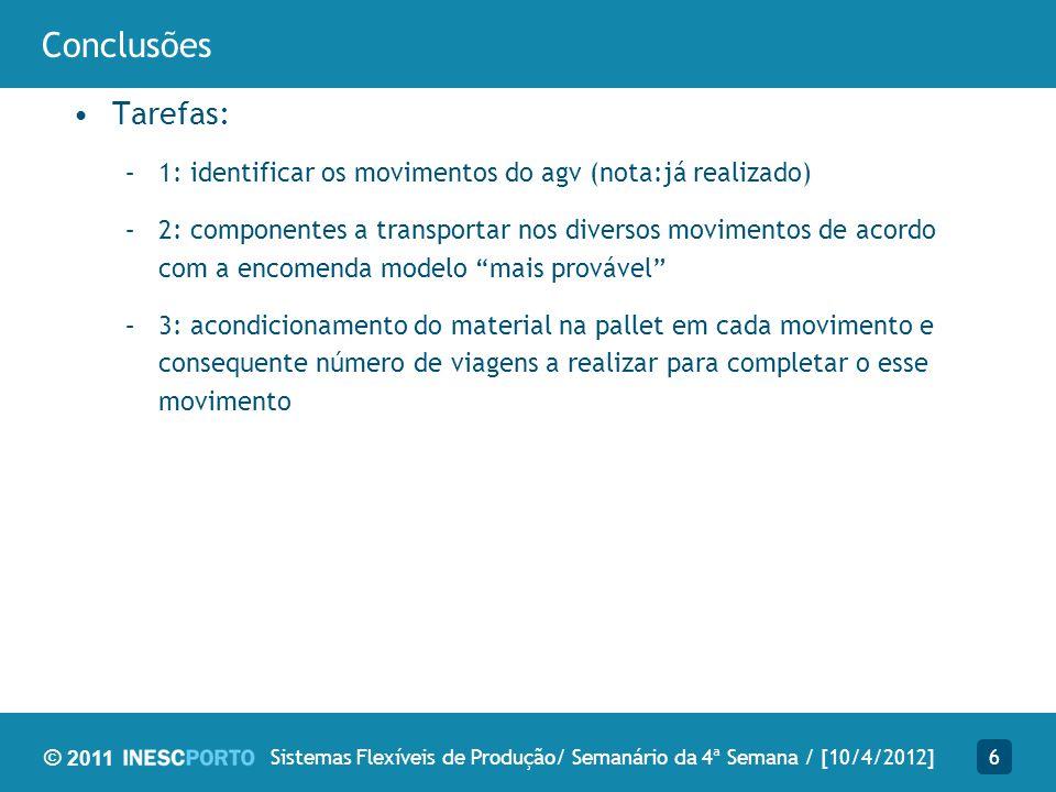 © 2011 Conclusões 6Sistemas Flexíveis de Produção/ Semanário da 4ª Semana / [10/4/2012] Tarefas: –1: identificar os movimentos do agv (nota:já realiza