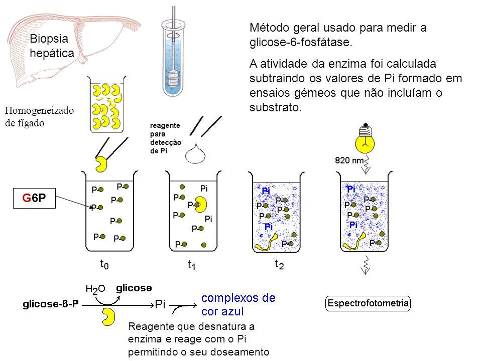 Biopsia hepática Homogeneizado de fígado Método geral usado para medir a glicose-6-fosfátase. A atividade da enzima foi calculada subtraindo os valore